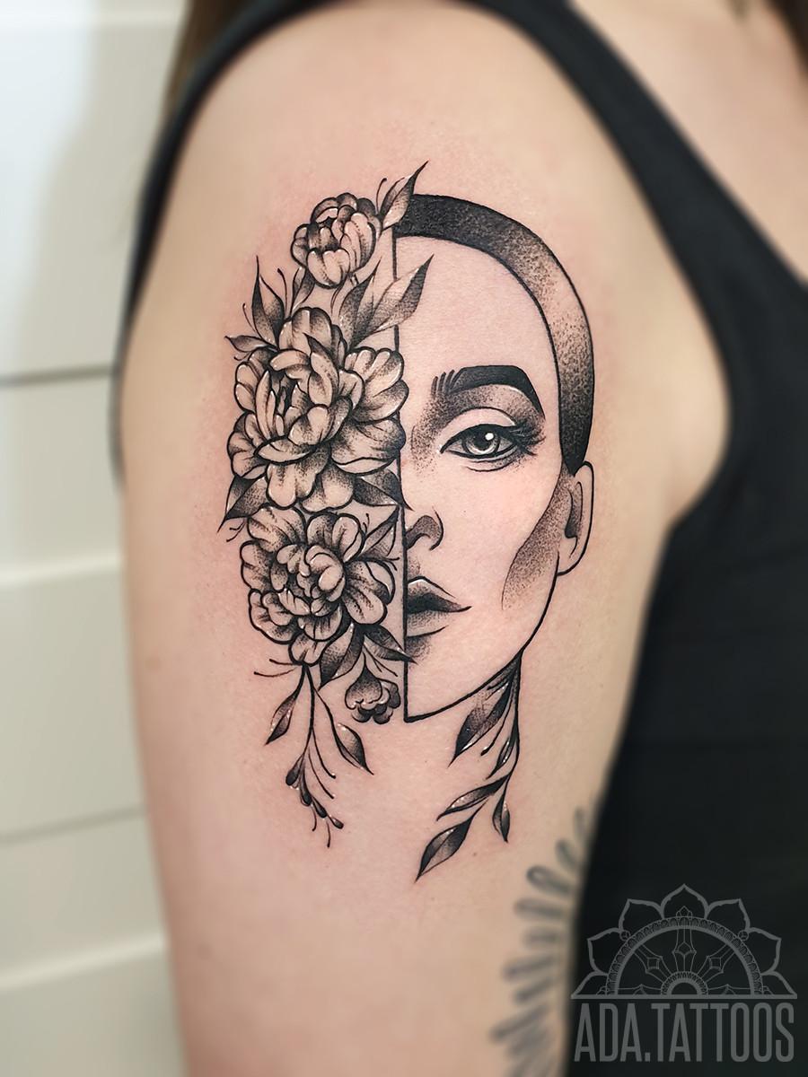 pol twarzy half face woman