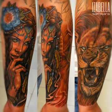 lion woman sleeve rękaw kobieta lew