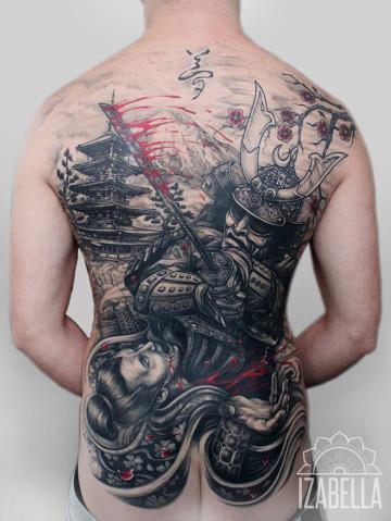 Tatuażczarny Samuraj japoński