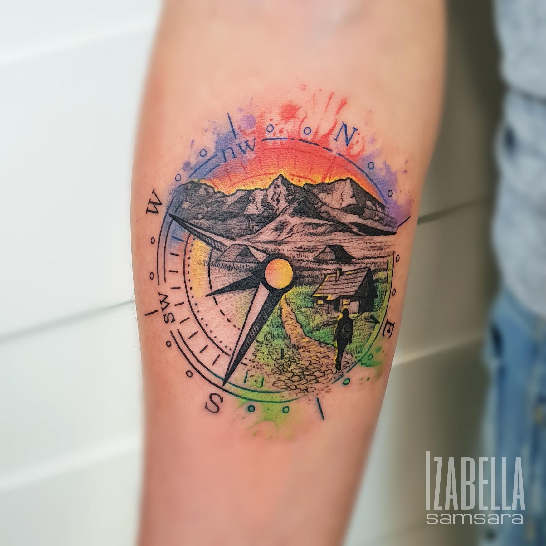 Compass Mountains Kompas Góry Róża Wiatrów Samsara Tattoo
