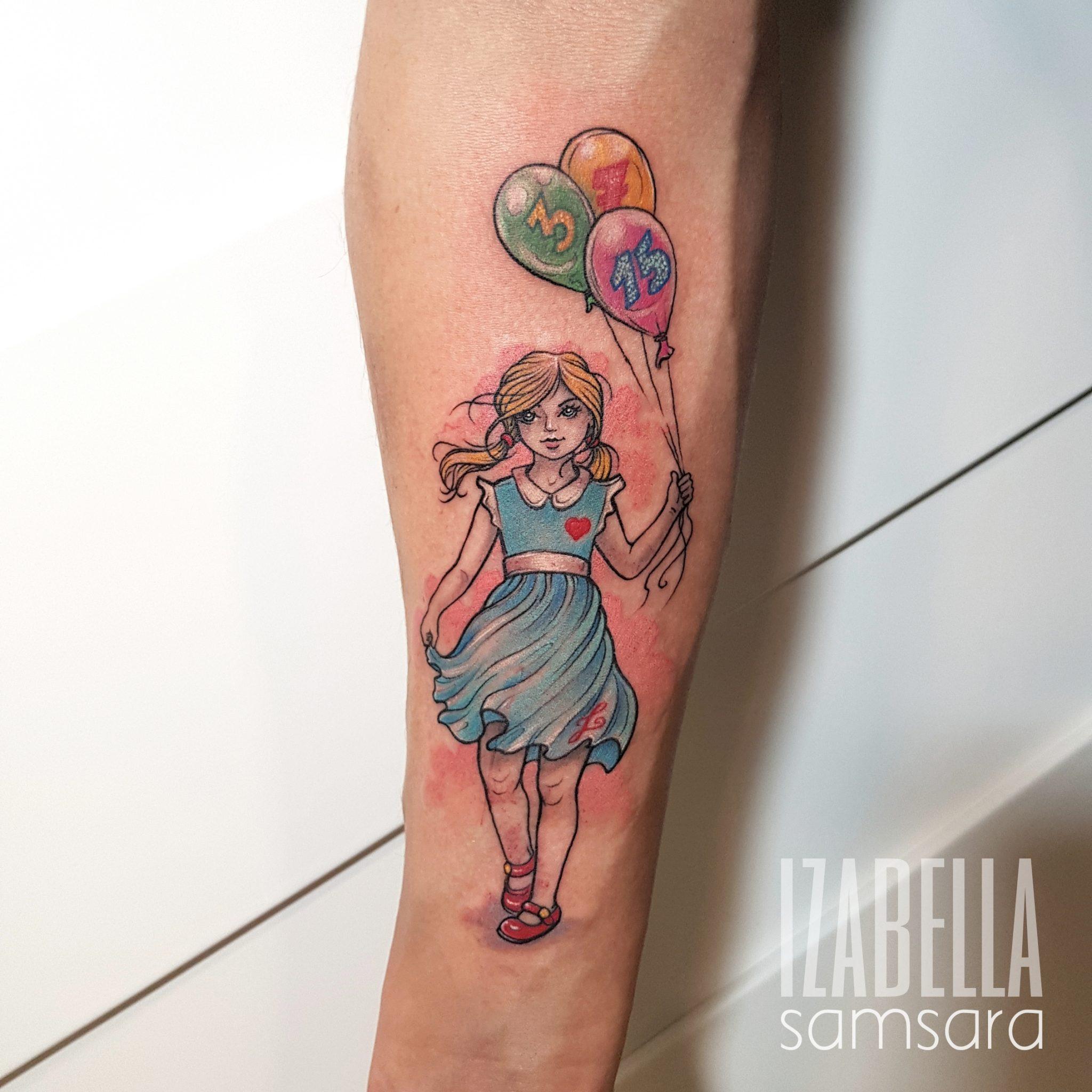 Dziewczynka Dziecko Balony Girl Balloons Samsara Tattoo
