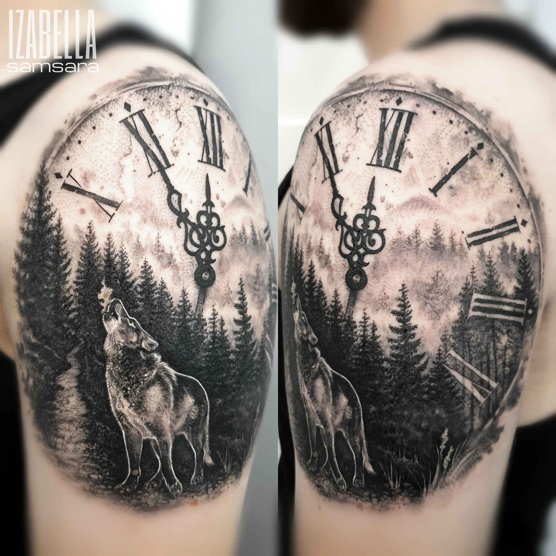 zegar las wilk clock forest wolf