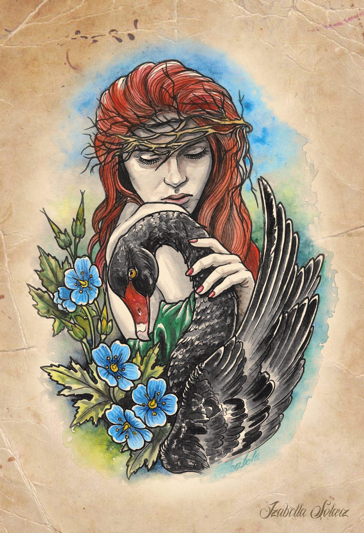 swan łabędź tatuaż