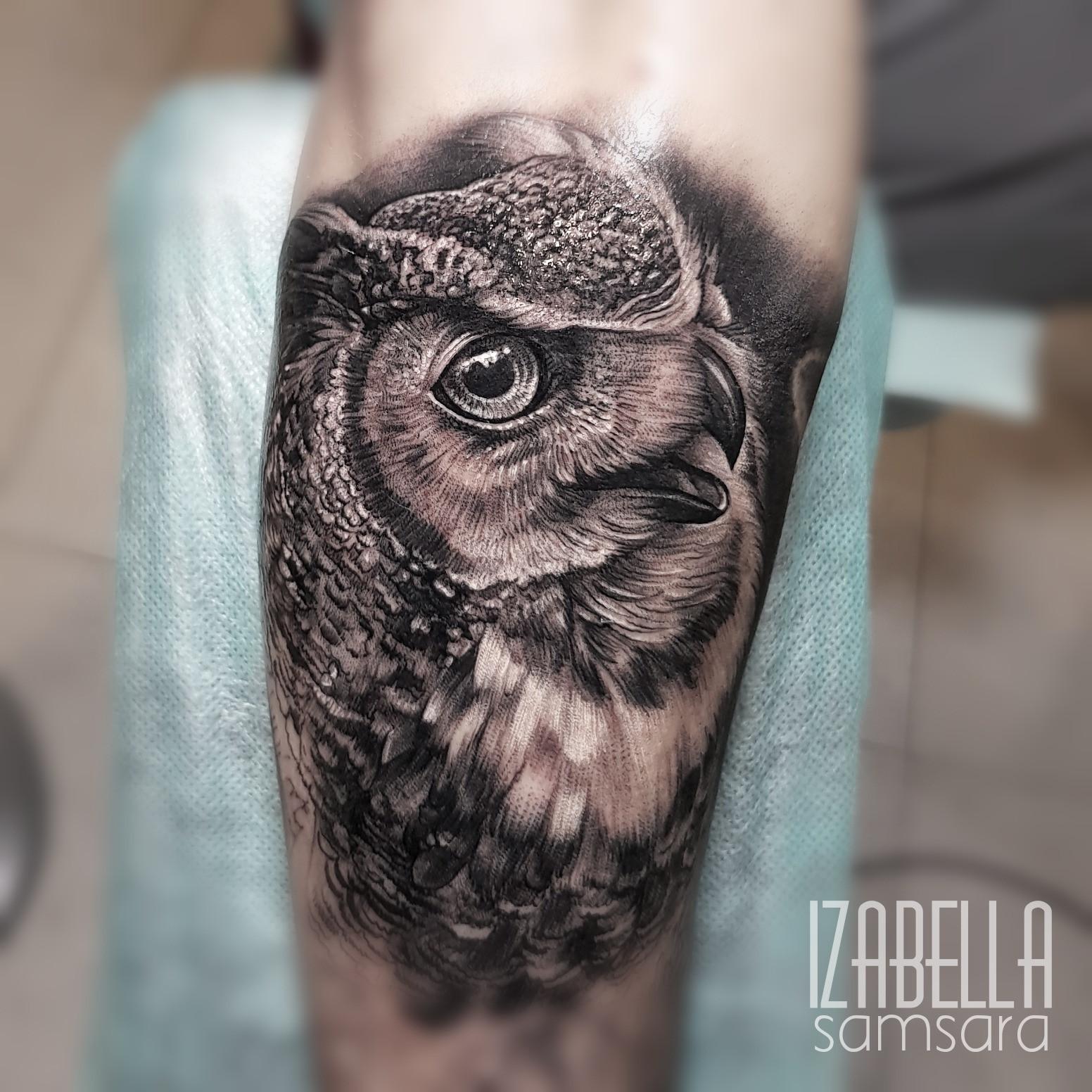 Sowa Owl Samsara Tattoo Pracownia Artystyczna Tatuażu