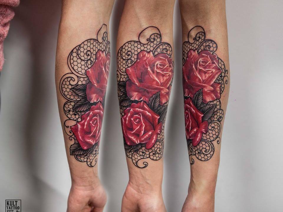 tatuażrękaw róża