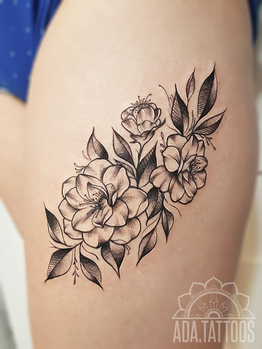 flowers thigh udo kwiecisty