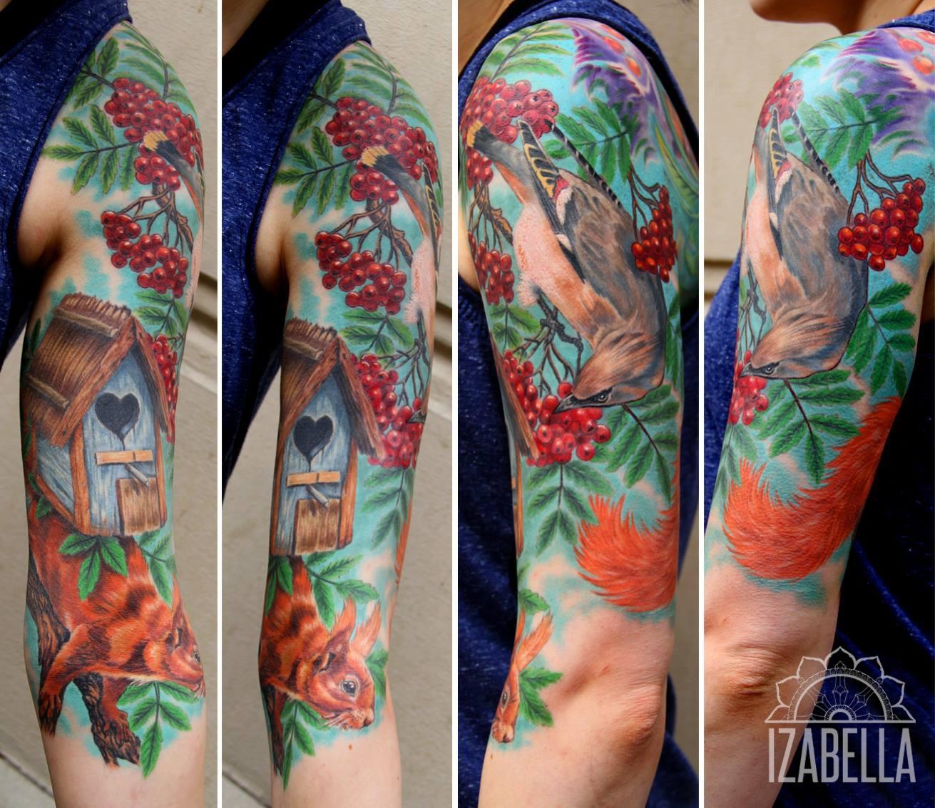 wiewiora tatuażrękaw wiewórka