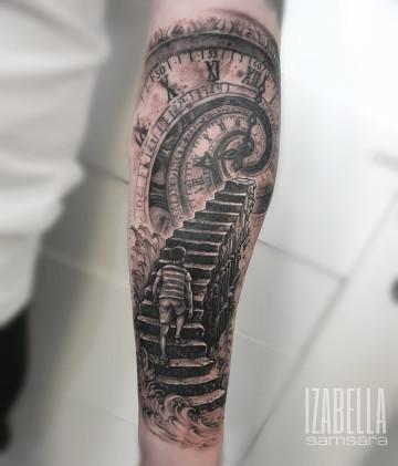 schody czas zegar mężczyzna stairs time clock men