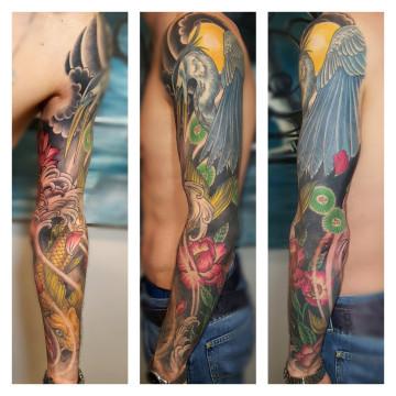 rękaw japoński tatuaż