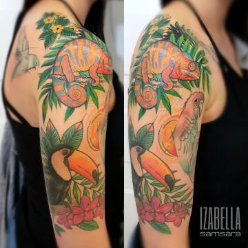 tropical tucan cameleon arm sleeve tukan kameleon