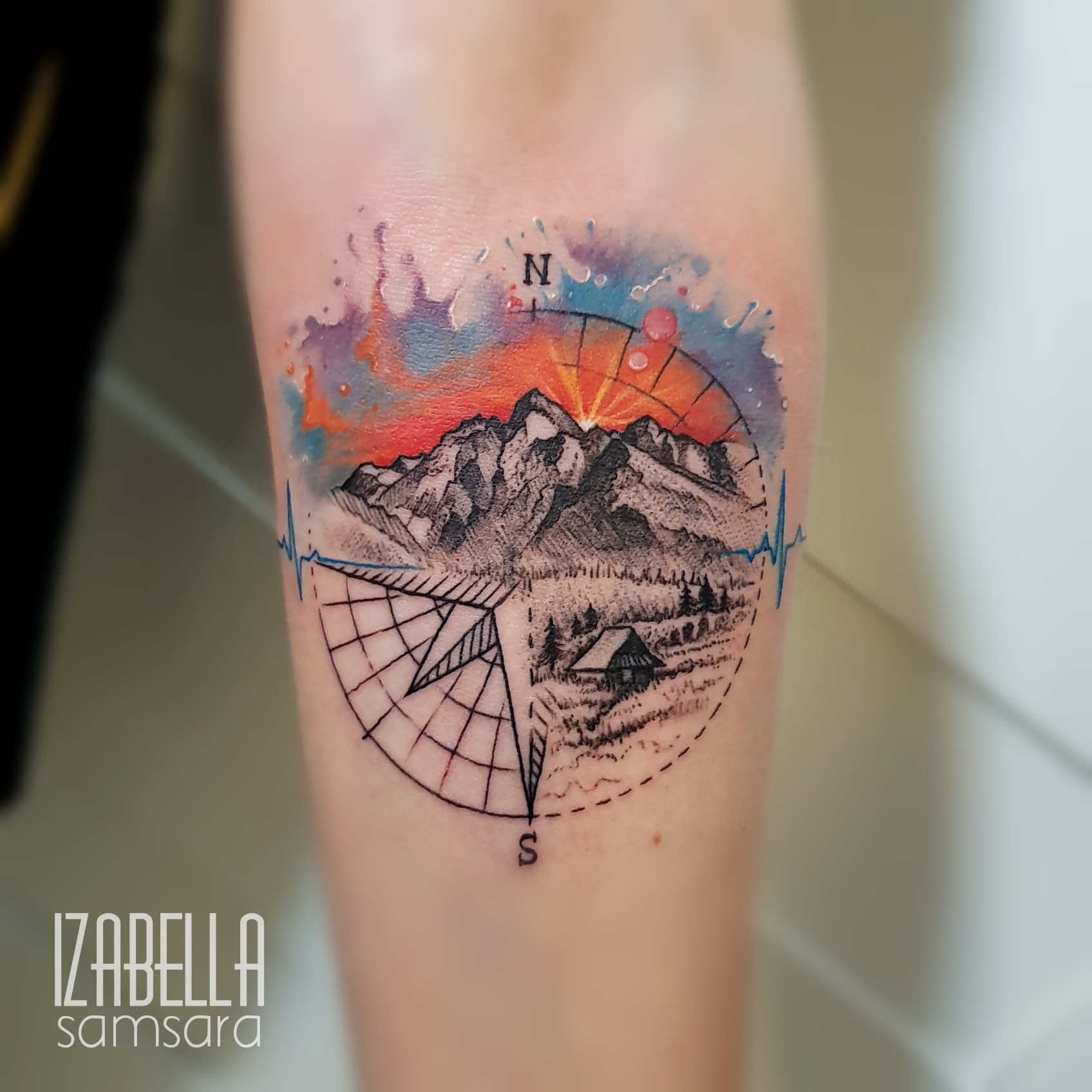 Podróże Róża Wiatrów Travel Wind Rose Samsara Tattoo