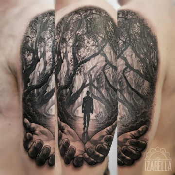 las czlowiek rece forest man hands