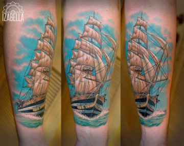 statek okręt tatuaż